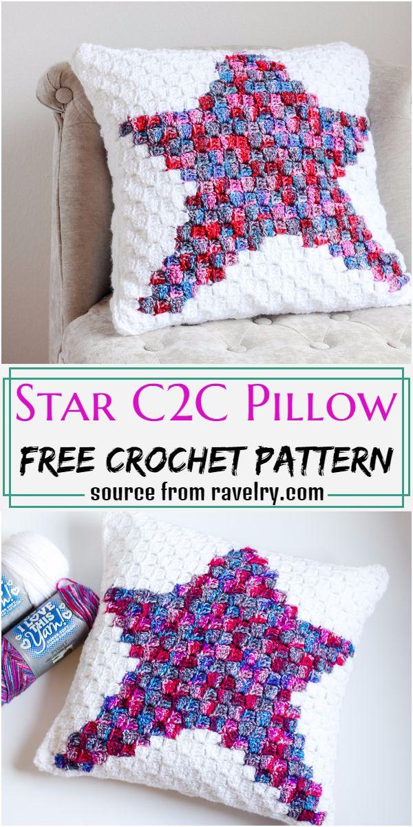 Star C2C Pillow Crochet Pattern