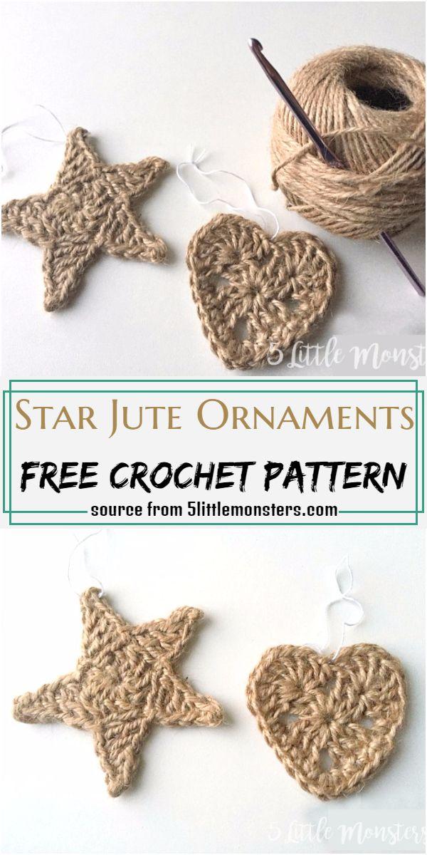 Star Jute Ornaments Crochet Pattern