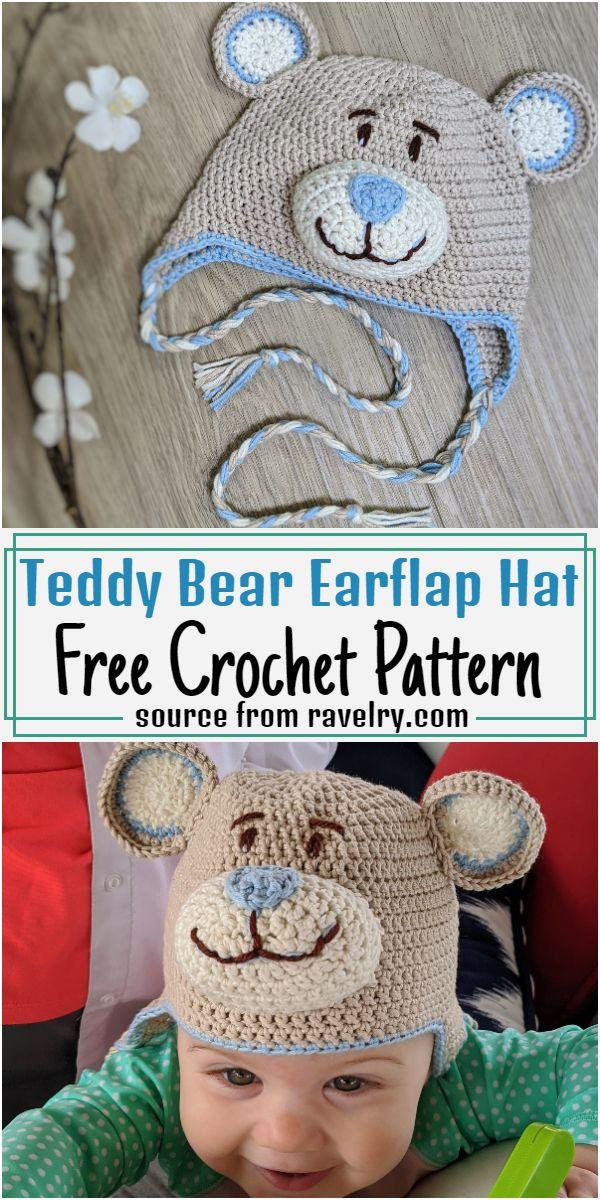 Teddy Bear Earflap Hat Crochet Pattern