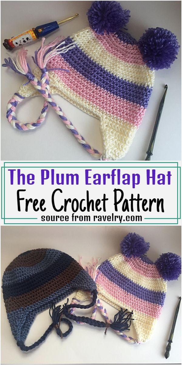 The Plum Earflap Hat Crochet Pattern