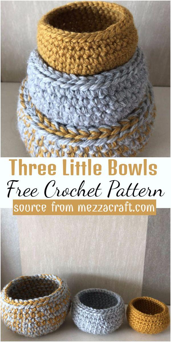 Three Little Bowls Crochet Pattern
