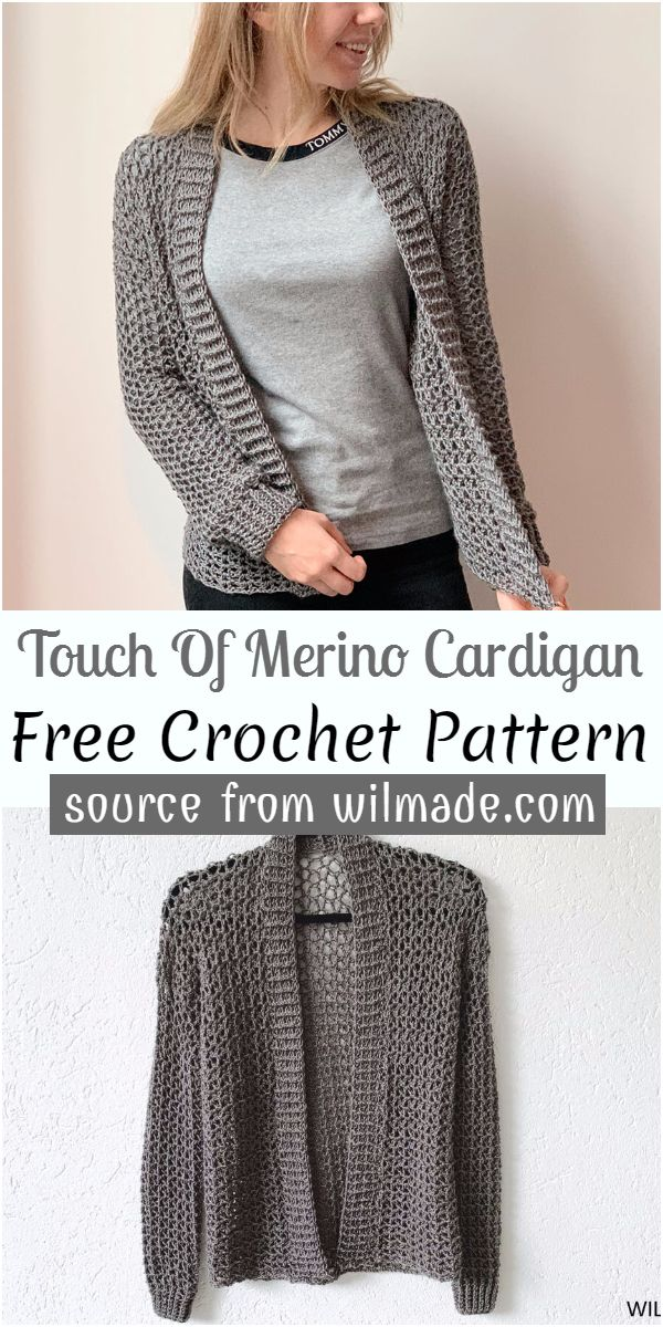 Touch Of Merino Cardigan Crochet Pattern