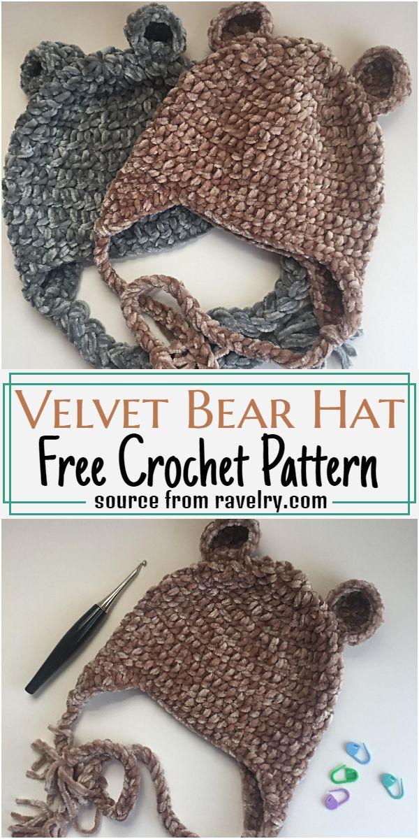 Velvet Bear Hat Crochet Pattern