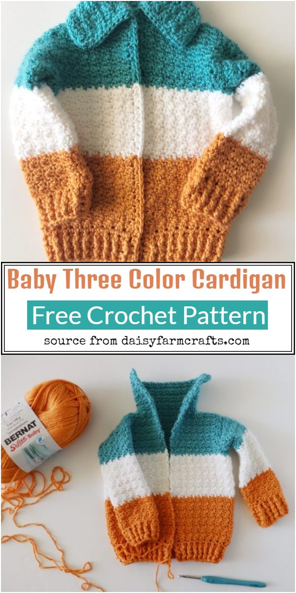 Baby Three Color Cardigan Crochet Pattern