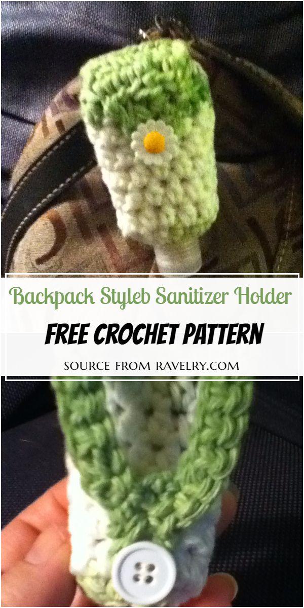 Backpack Style Crochet Hand Sanitizer Holder Free Pattern
