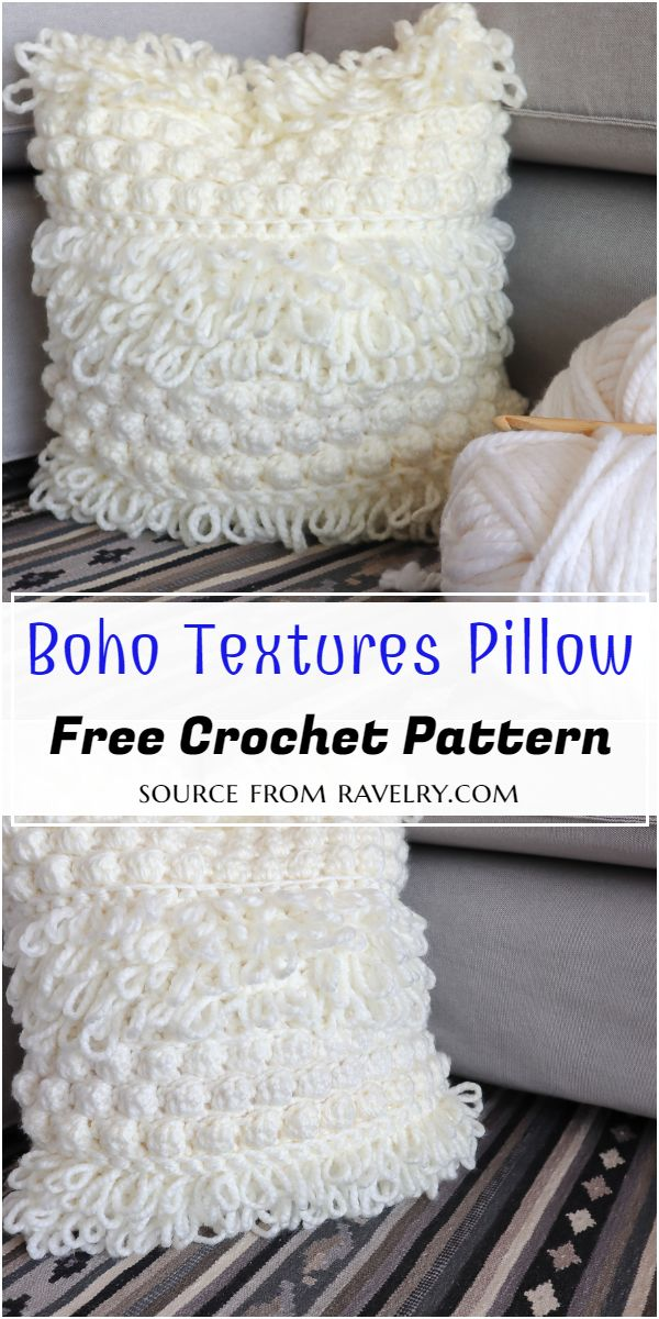 Boho Crochet Textures Pillow Pattern