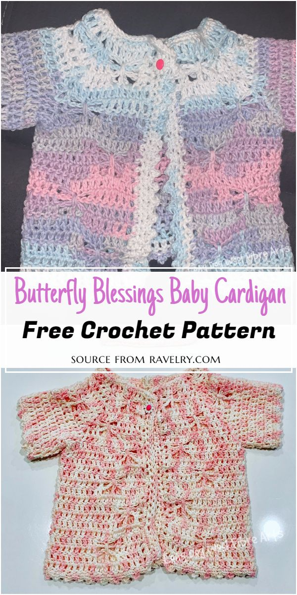 Butterfly Blessings Baby Cardigan Crochet Pattern
