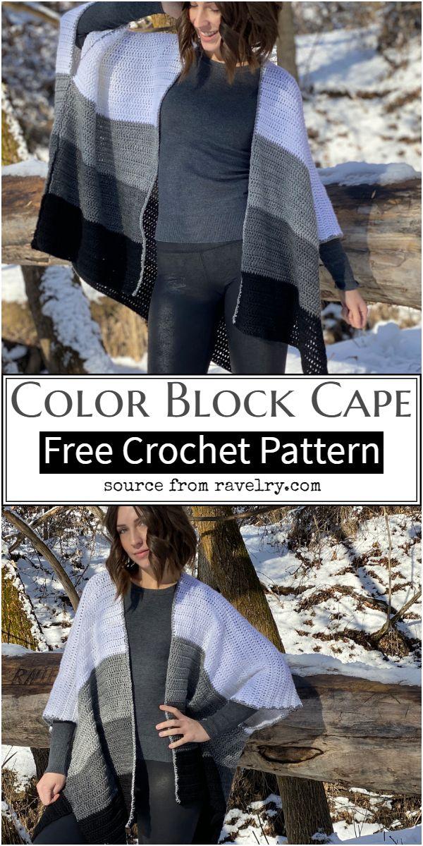 Color Block Crochet Cape Pattern