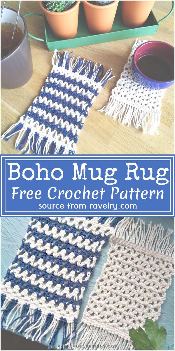 Crochet Boho Mug Rug Pattern