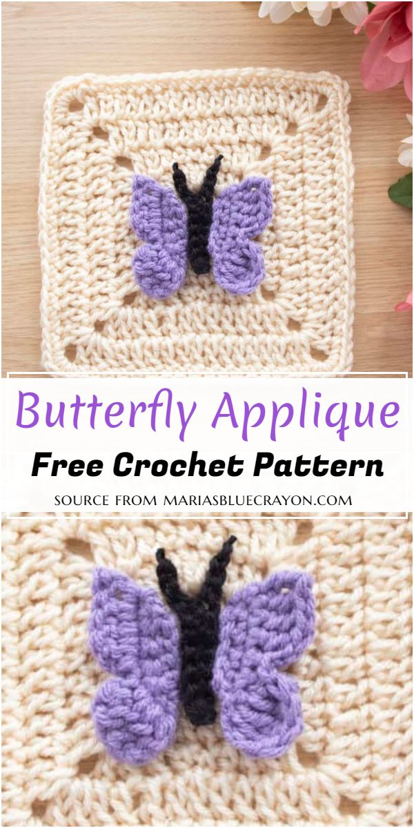 Crochet Butterfly Applique Free Pattern