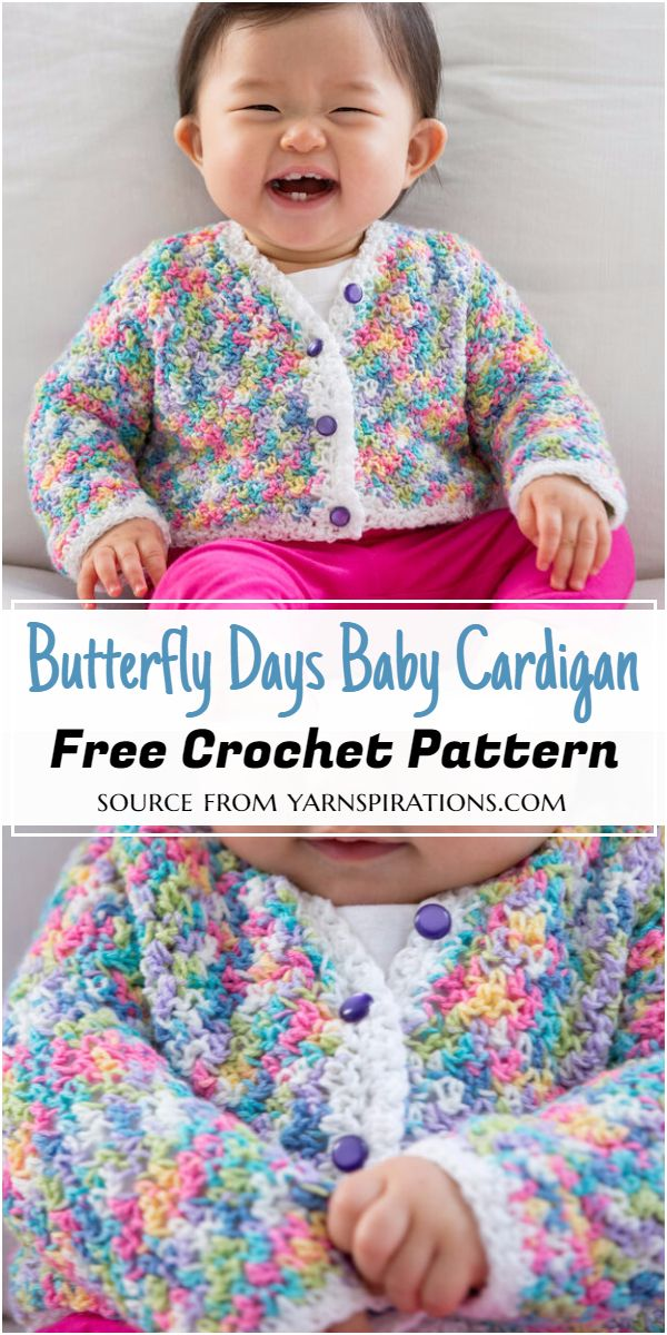 Crochet Butterfly Days Baby Cardigan Pattern
