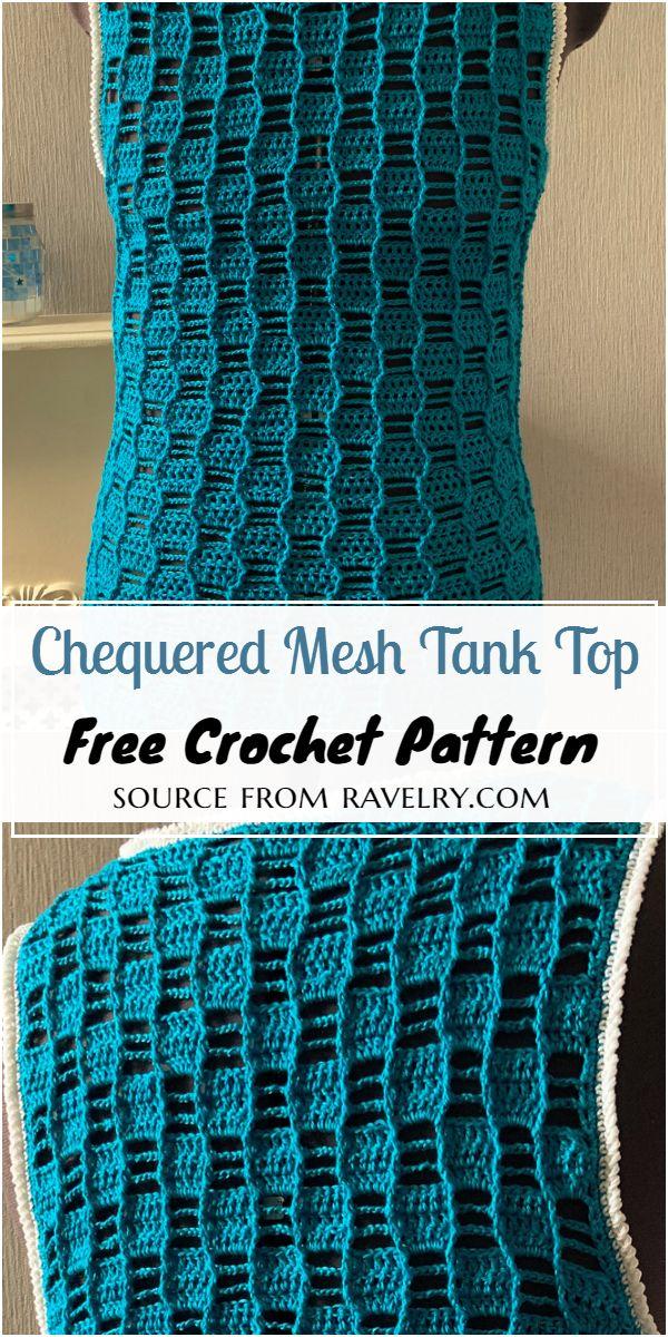 Crochet Chequered Mesh Tank Top Pattern