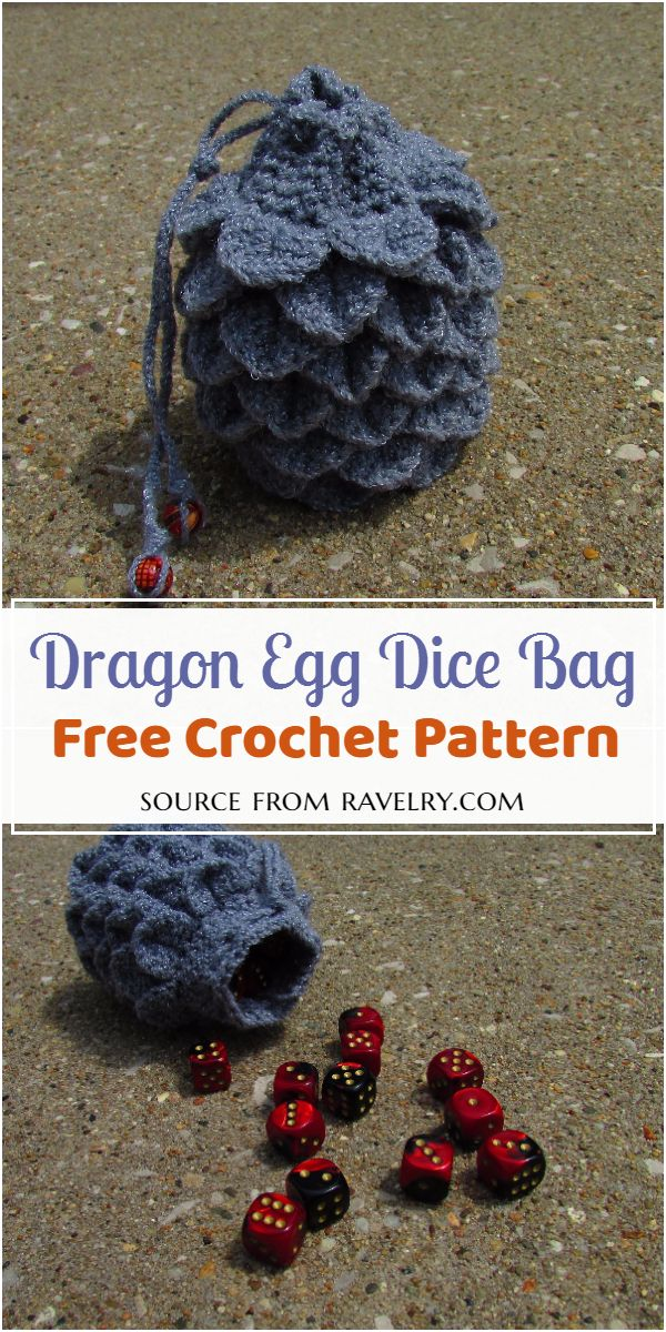 Crochet Dragon Egg Dice Bag Pattern