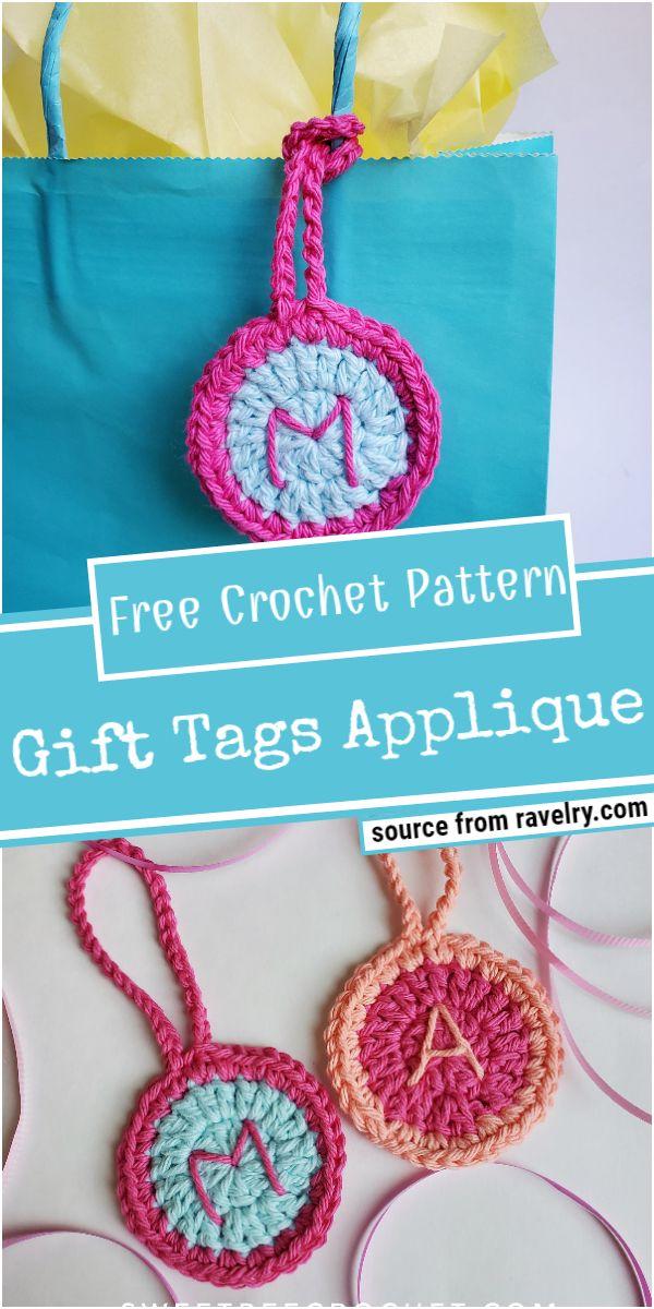 Crochet Gift Tags Applique Pattern