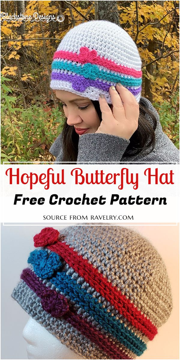 Crochet Hopeful Butterfly Hat Free Pattern
