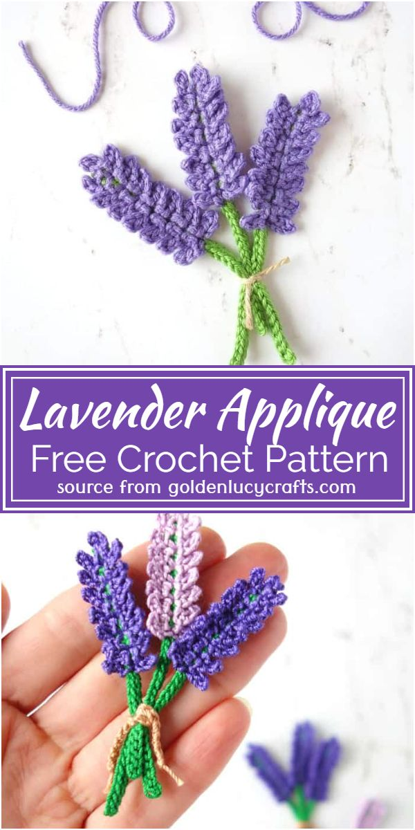 Crochet Lavender Applique Free Pattern