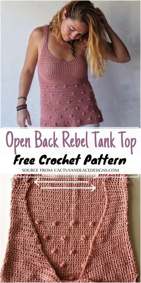 Crochet Open Back Rebel Tank Top Free Pattern
