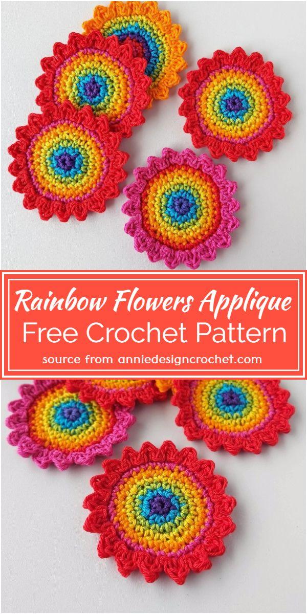 Crochet Rainbow Flowers Applique Free Pattern