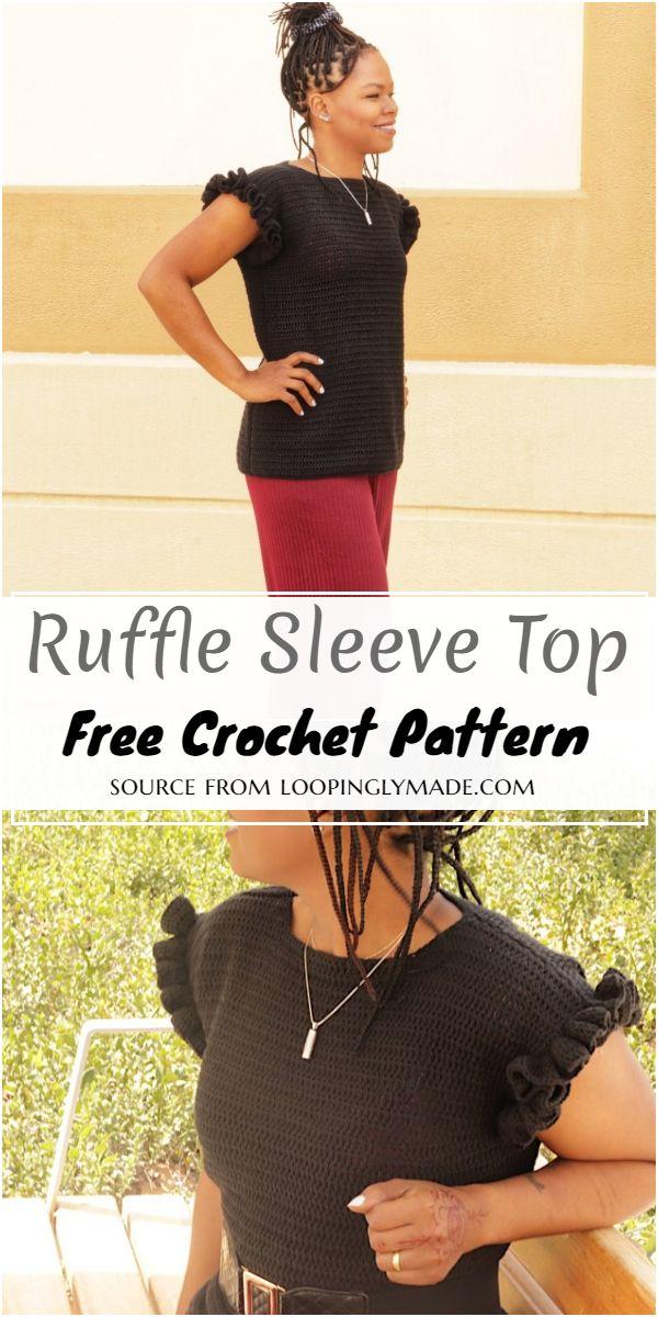 Crochet Ruffle Sleeve Top Pattern For Women