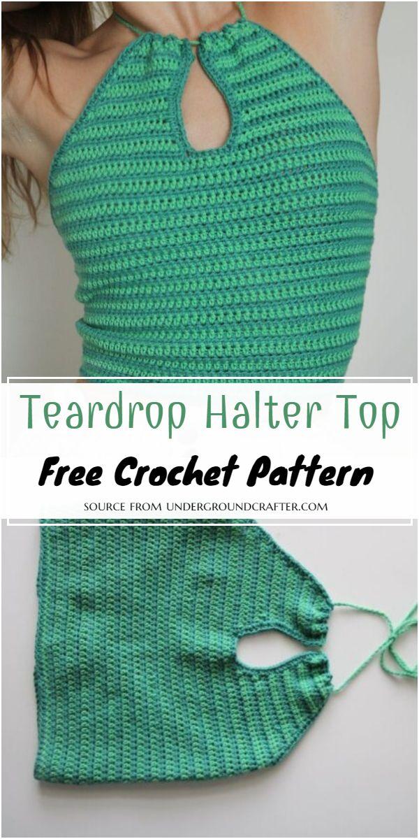 Crochet Teardrop Halter Top