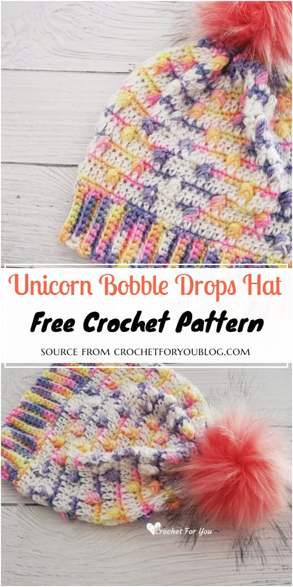 Crochet Unicorn Bobble Drops Hat Pattern
