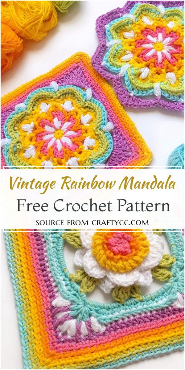 Free Crochet Vintage Rainbow Mandala Pattern