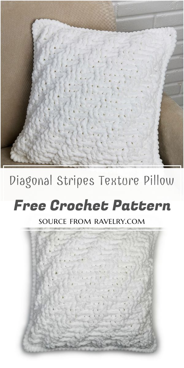 Diagonal Stripes And Crochet Texture Pillow Free Pattern