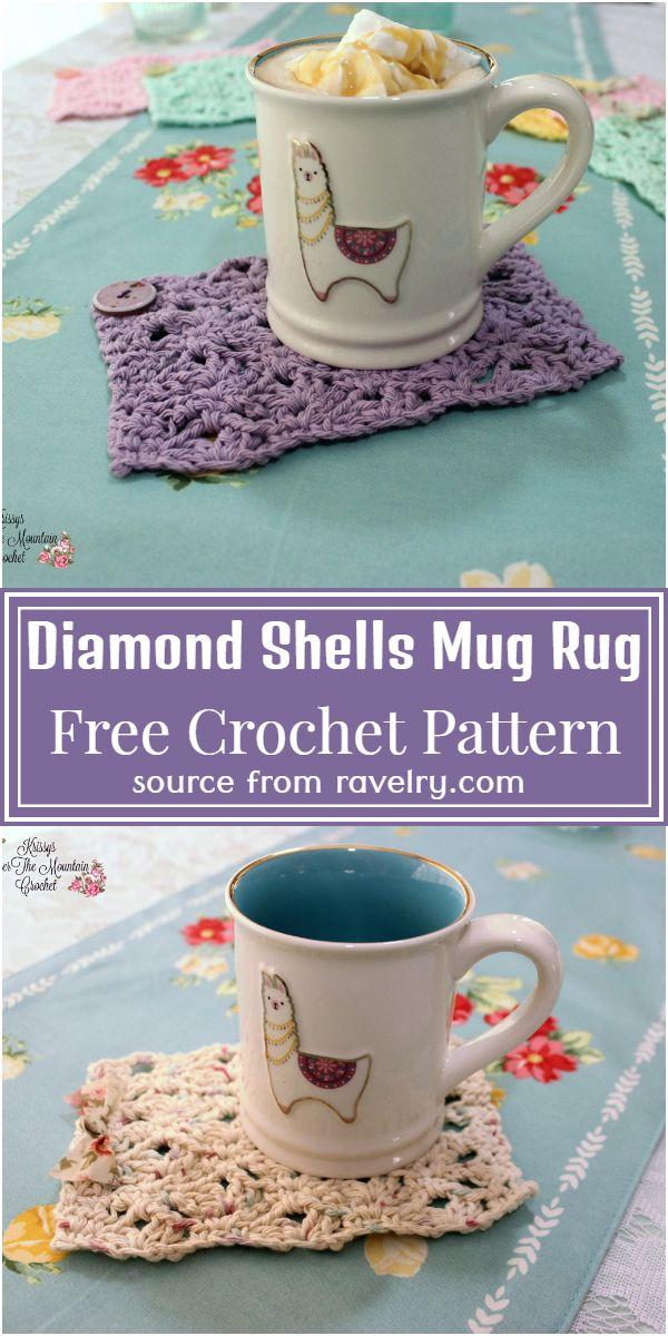 Diamond Shells Crochet Mug Rug Pattern