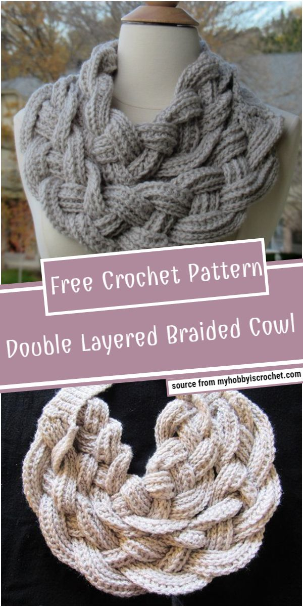 Double Layered Braided Crochet Cowl Pattern