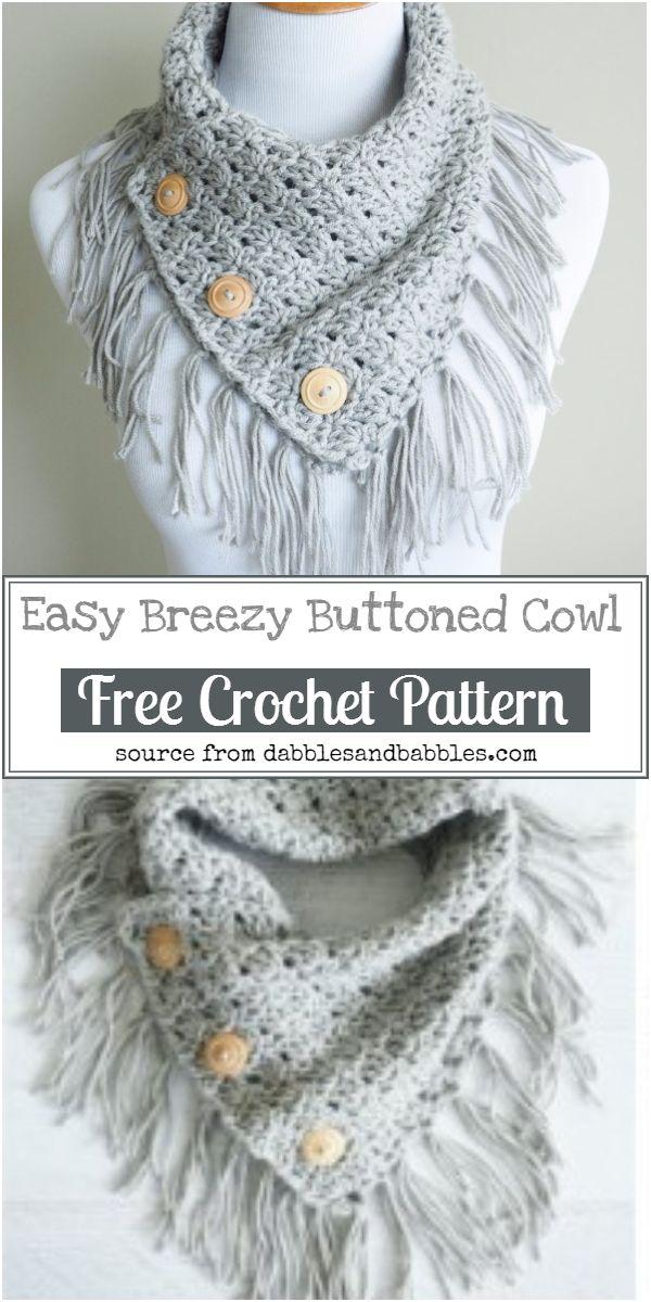 Easy Breezy Buttoned Crochet Cowl Free Pattern