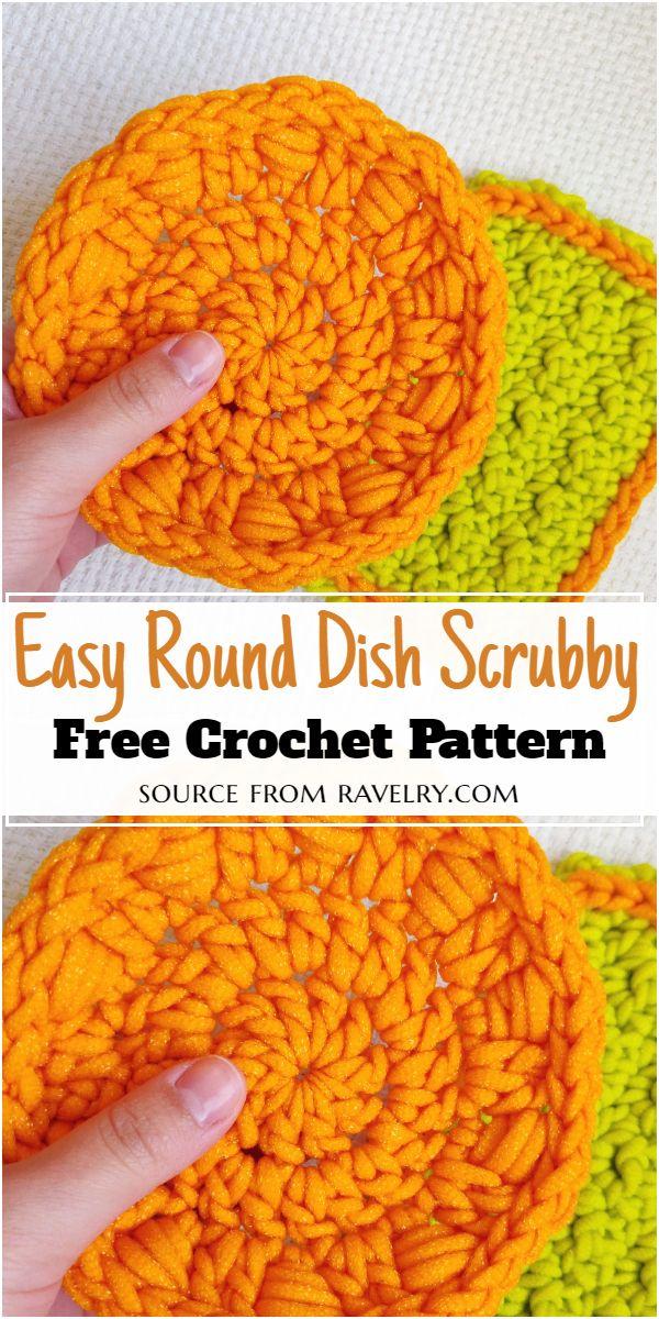 Easy Round Dish Scrubby Crochet Pattern