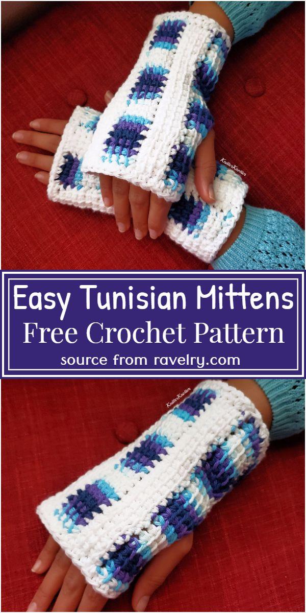 Easy Tunisian Mittens Crochet Pattern
