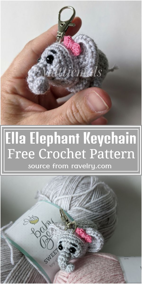 Ella Elephant Crochet Keychain Free Pattern