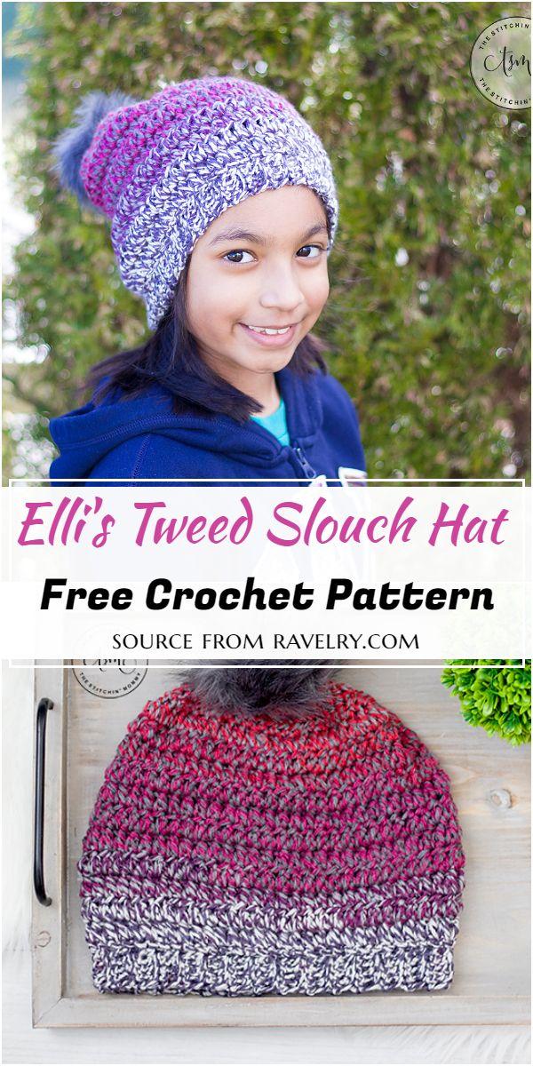 Elli's Tweed Crochet Slouch Hat Pattern