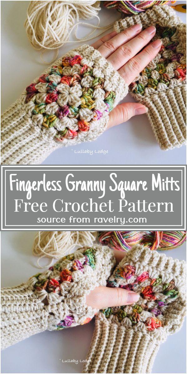 Fingerless Granny Square Mitts Crochet Pattern