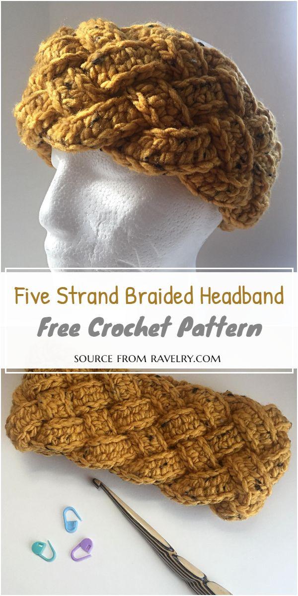 Five Strand Braided Crochet Headband Pattern