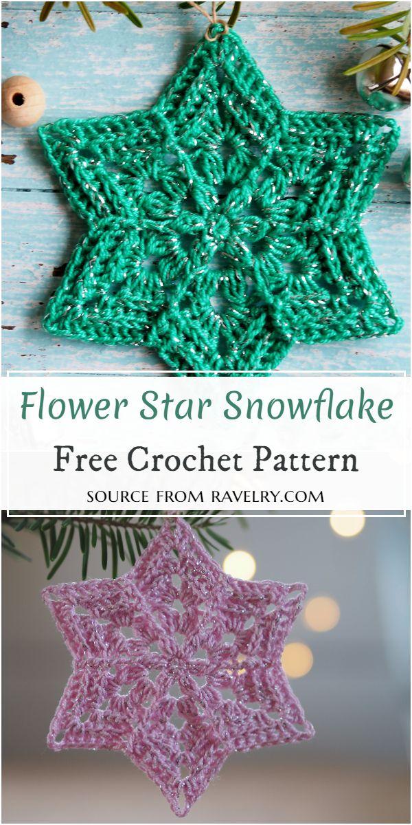 Flower Star Snowflake Crochet Pattern