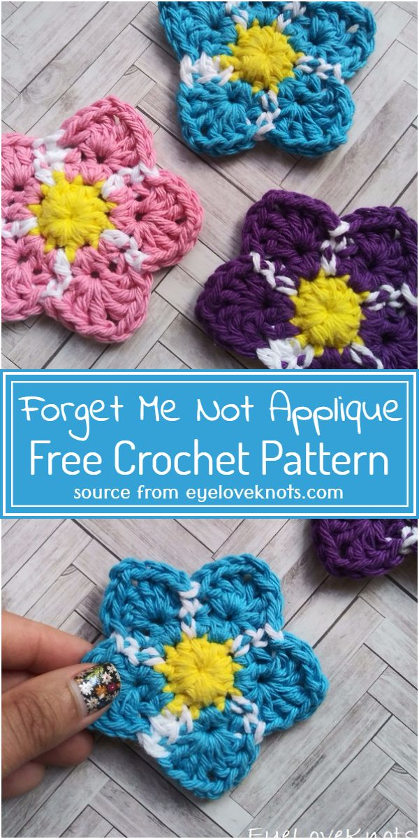 Forget Me Not Applique Crochet Pattern