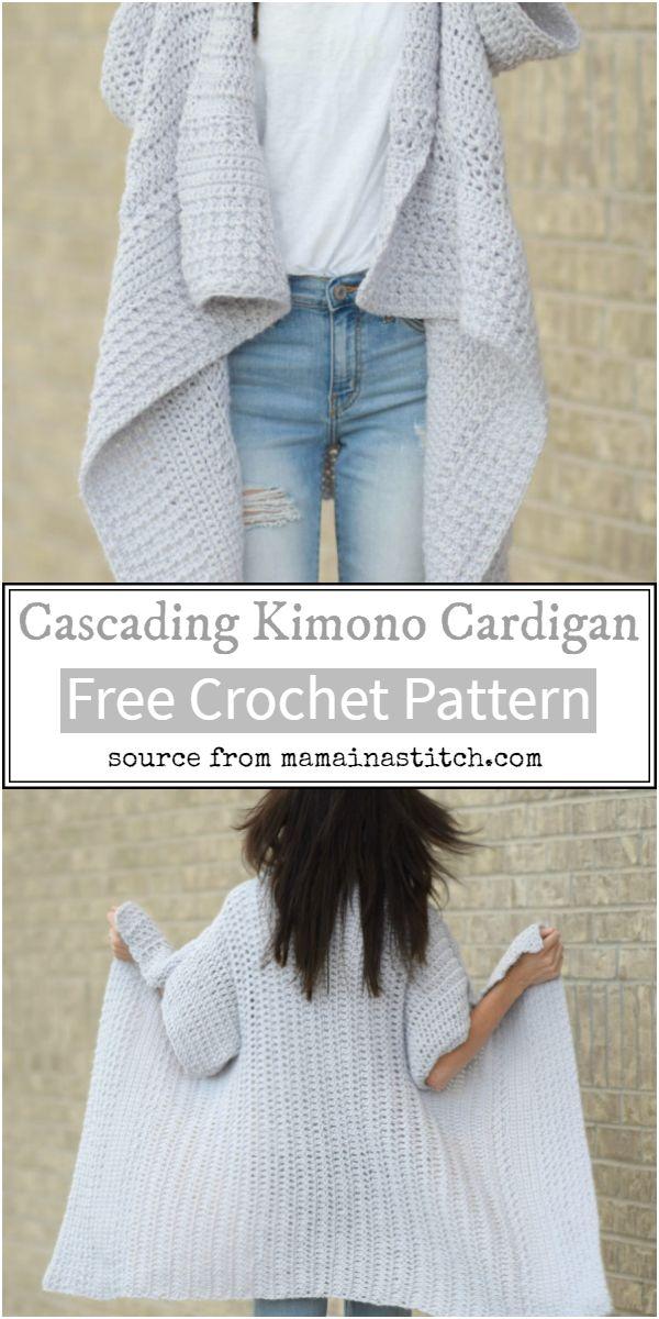 Free Cascading Kimono Crochet Cardigan Pattern