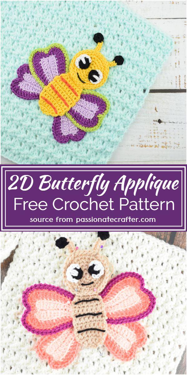 Free Crochet 2D Butterfly Applique Pattern