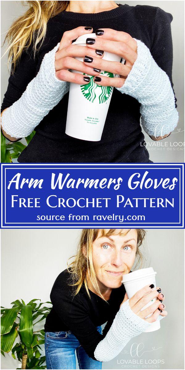 Free Crochet Arm Warmers Gloves Pattern