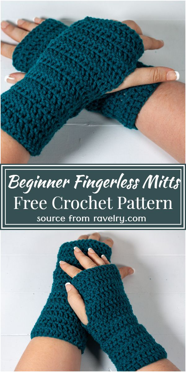 Free Crochet Beginner Fingerless Mitts Pattern