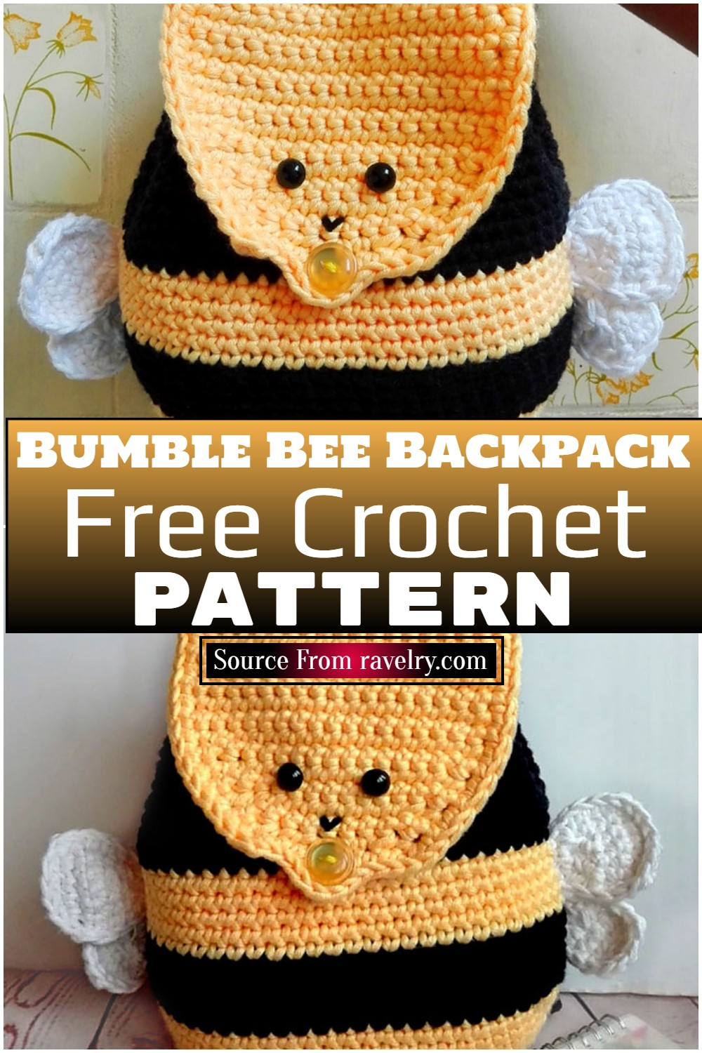 Free Crochet Bumble Bee Backpack Pattern