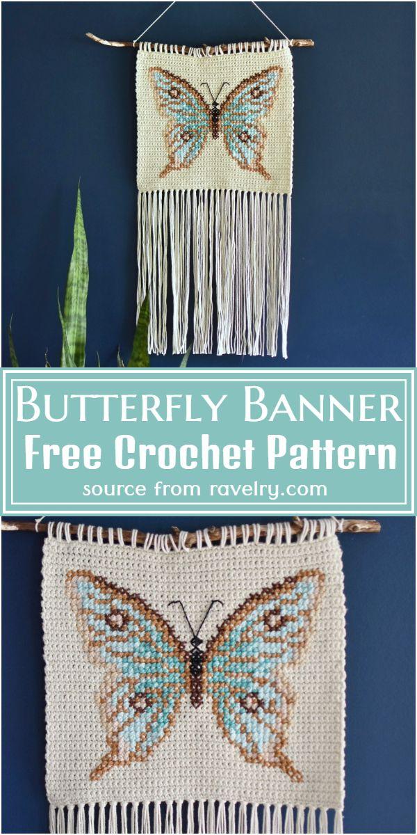Free Crochet Butterfly Banner Pattern