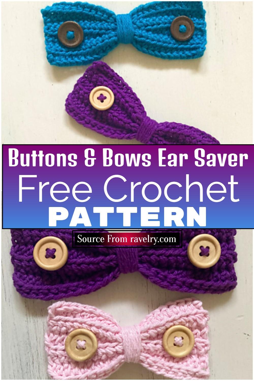 Free Crochet Buttons & Bows Ear Saver Pattern