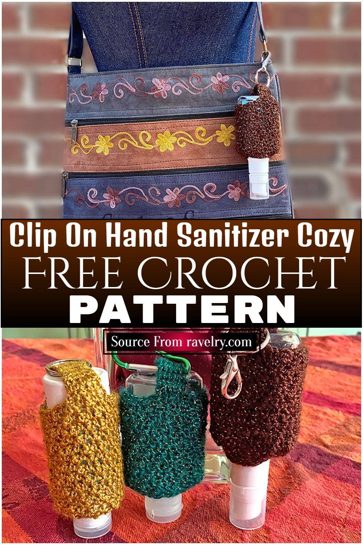 Free Crochet Clip On Hand Sanitizer Cozy Pattern