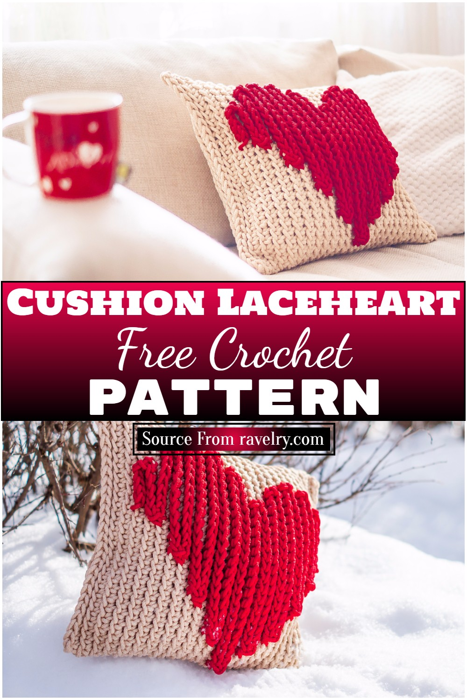 Free Crochet Cushion Laceheart Pattern