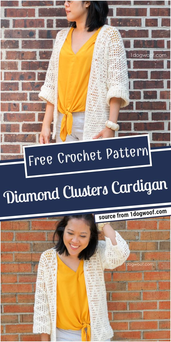 Free Crochet Diamond Clusters Cardigan Pattern