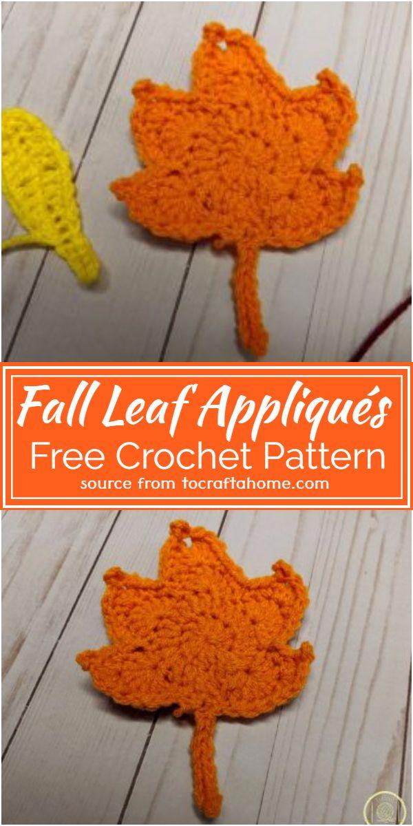 Free Crochet Fall Leaf Appliqués Pattern