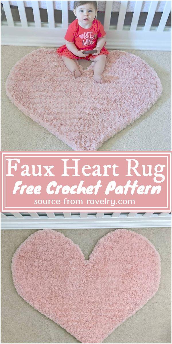 Free Crochet Faux Heart Rug Pattern